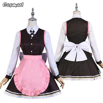 Anime Demon Slayer Kimetsu no Yaiba  Kamado Nezuko Maid Dress Coffee Shop Uniform Cosplay Costume Halloween Suit For Women Outfi 1