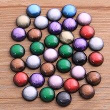 40 adet 12mm 2020 yeni moda Mix renk taş düğme parlak düz geri reçine Cabochons Cameo Fit DIY Cabochons tepsi küpe yüzük