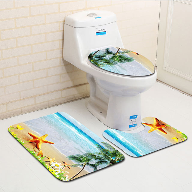 Set of patterned beach stars bath mats for shower bath mat rug home decoration non-slip toilet seat cover