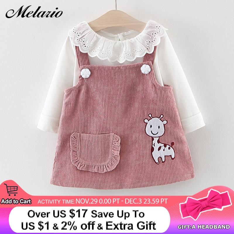 Melario Baby Girl Dress Autumn Baby Girl Princess Clothes Cute Girls Long Sleeve T-shirt Tops Cartoon Giraffe Dress 2pcs Suit