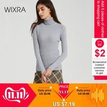 WIXRA swetry damskie 2018 jesień zima kobiet z golfem na co dzień luźne damskie swetry z dzianiny swetry odzież damska tanie tanio Acrylic Akrylowe STANDARD Kobiety Komputery dzianiny Pełna Solid None REGULAR NB-221