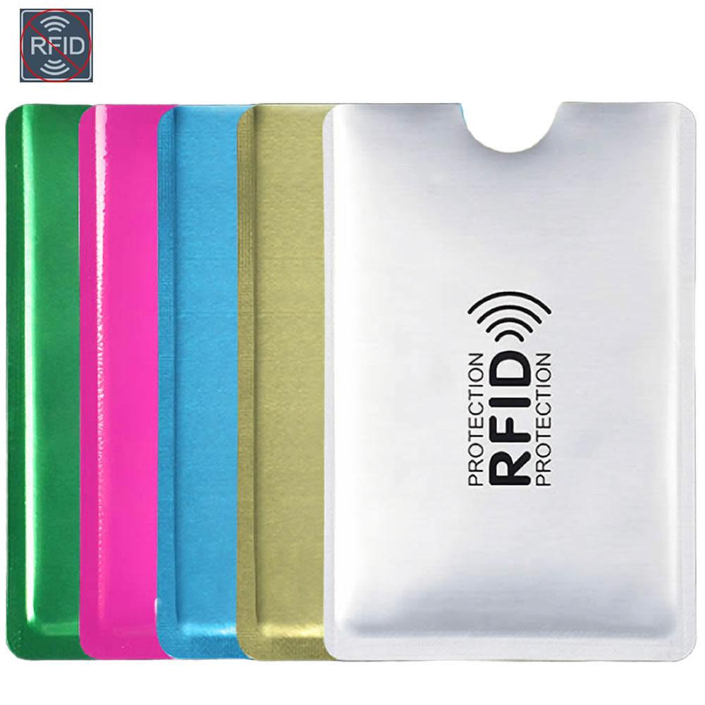 Silver Laser Aluminium Anti Rfid Wallet Blocking Reader Lock Bank Card Holder ID Bank Card Case Business Protection Metal Credit