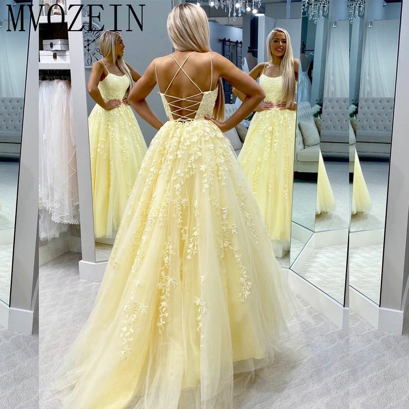 Youthful Yellow Prom Dresses Tulle Lace