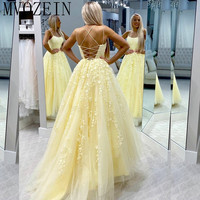 Youthful Yellow Prom Dresses Tulle Lace Appliques Spaghetti Strap Long Prom Dress Formal Party Gowns Vestido de festa Longo