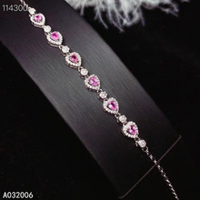 KJJEAXCMY fine jewelry 925 sterling silver inlaid natural pink sapphire bracelet fashion female bracelet support testing luxurious natural sri lanka sapphire bracelet 2 ct natural blue sapphire gemstone bracelet solid 925 sterling silver bracelet
