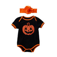 Infant Baby Girl Kids Halloween Pumpkin Romper Bodysuit Playsuit Hairband Bodysuit clothing sets for costume Romper clothes z8(China)