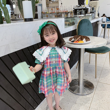 College style girls clothes lace stitching lapel short sleeve dress plaid cotton banquet dress dress fashion summer girls girls zip back raw hem plaid dress