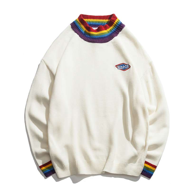 Rainbow Collar Pullover Men's Sweater  Winter Loose Style Sweater For Men High Street Sweaters Black White