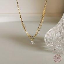Collier en argent Sterling 925 avec pendentif en cristal français Simple, chaîne de clavicule multicouche, breloque à la mode, bijoux cadeau pour étudiant