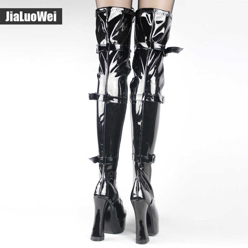 جديد بالجملة هالوين زي المرأة 4.5 بوصة كعب فوق الركبة الفخذ أحذية عالية التمهيد مع هوك الدانتيل يصل و الجانب سستة.