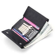 Женский кошелек из натуральной кожи с цепочкой для ключей воловьей