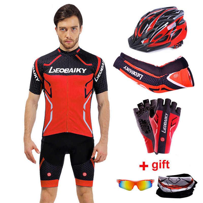 LEOBAIKY marka Team Pro kurtka i szorty rowerowe zestaw wyściełane silikonowe ubrania rowerowe mężczyźni lato jazda odzież rowerowa rower Mtb nosić