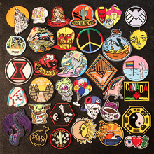 Hippie Rock Embroidery Patch Funny Patches For Clothing Skull Iron On Patches On Clothes Mountain Patch Stickers Applique Stripe hippie embroidered badge biker patches on clothes iron on patches for clothing punk rock back patch applique stripe for jacket