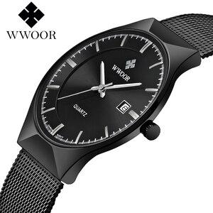 Image 5 - VIP WWOOR 8016 Ultra dünne Mode Männlichen Armbanduhr Top Marke Luxury Business Uhren Wasserdicht Kratz beständig Männer Uhr