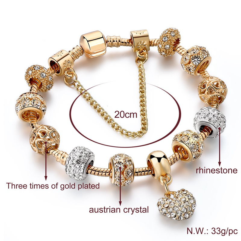 Hf1b47a364f79461f906e33498930ffc7H Exquisite Crystal Gold Heart Charm Bracelets With Bangles