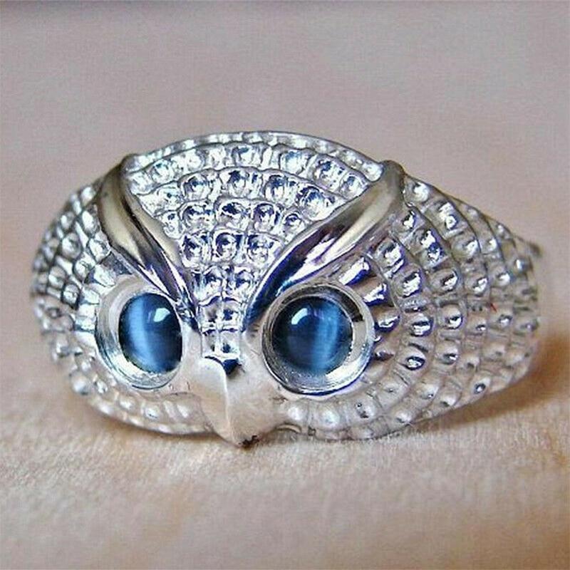 Женское кольцо на палец Huitan с изображением милой совы, голубые Имитационные опаловые глаза, простое украшение в виде животного, индивидуаль...