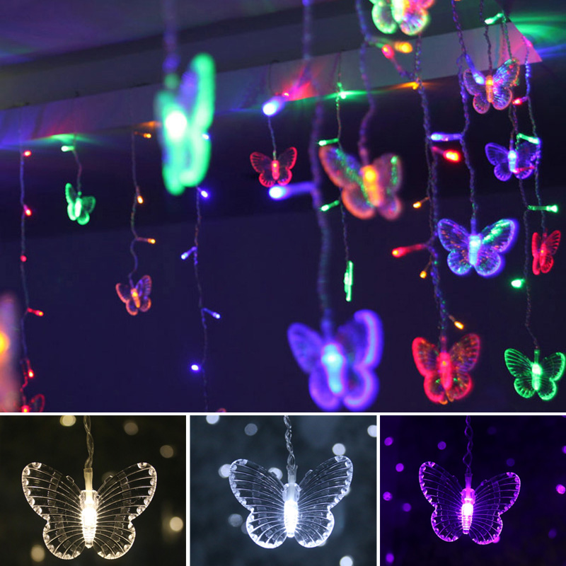 LED Butterfly Curtain Light Ices Strip Butterfly Pendant Light String Indoor Outdoor Decoration TSH Shop