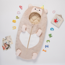 Baby Sleeping Bag Quilted Padded Autumn  Winter Small Monkey Shape Flannel Anti-kick Quilt Warm