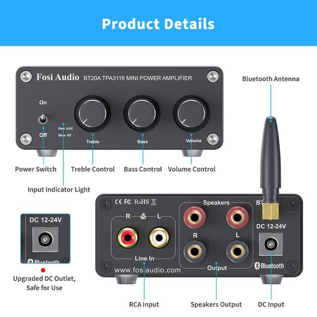 Усилитель мощности Fosi Audio BT20A, с поддержкой Bluetooth TPA3116D2, 100 Вт 3