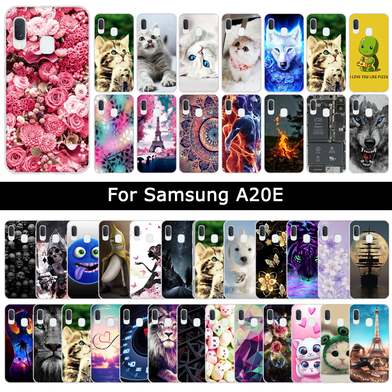 Luxury Cases For <font><b>Samsung</b></font> <font><b>Galaxy</b></font> A20E <font><b>A20</b></font> E Soft TPU Silicone Floral Animal Patterned Protective Cover Phone Cases Shells Fundas image