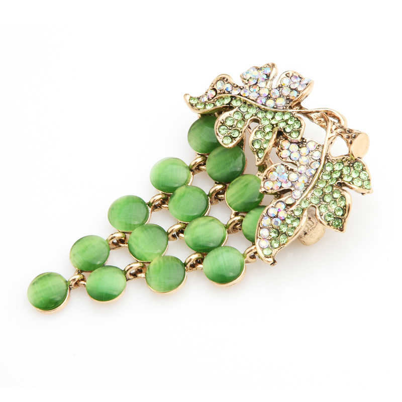 Wuli & bébé vert opale raisin broches femmes alliage strass Fruits mariages Banquet broche broches nouvel an cadeaux