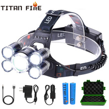 Headlamp 50000LM T6+4Q5/T6+2Q5 Ultra Bright LED Headlight 4 Modes Rechargeable Waterproof Outdoor  Fishing Flashlight Hunting