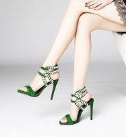 Stud Sandals Women Crystal Ankle Buckle Cut Out Open Toe Shoes Sandals One Strap Hot Day Green Dress Party Studded Shoes Woman