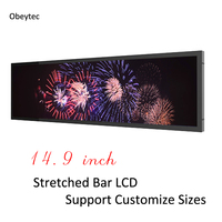 Obeytec 14.9 inch stretched LCD display, 1280*114 (HD resolution), Wide Bar TFT monitor, Android OS, 1+8G standard