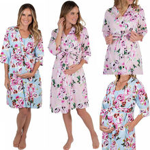 Maternity Nightwear Women Lady Floral Kimono Bathrobe Sleepwear Nursing Nightgown Pajamas S