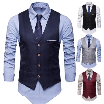 Men Formal Business Dress Vest Suit Slim Double Breasted Wedding Classic Waistcoat M-3XL