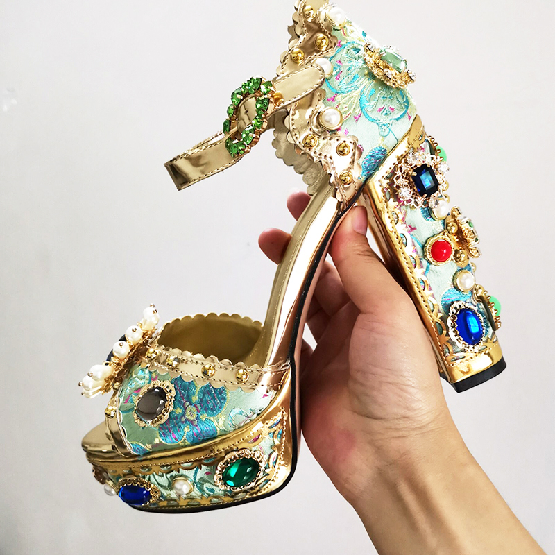 Aqua Blue Gemstone Platform Sandals Super High Heel Metal Decor Luxury Party Shoes Women Formal Bridal Wedding Sandals