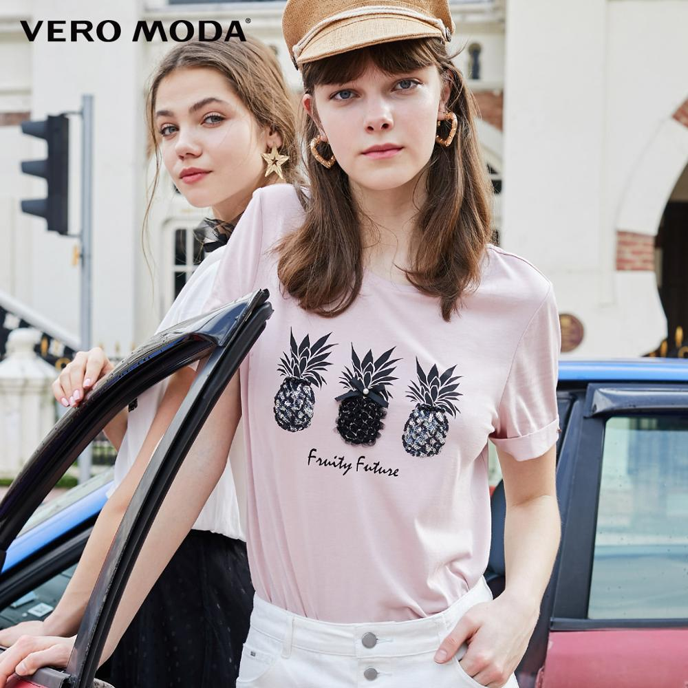 Vero Moda New Women's 100% Cotton Fruit Pattern 3D Print T-shirt | 319201555