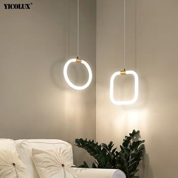 Round Square Rectangle New Modern LED Pendant Lights Dining Living Room Bedroom Bedside Kitchen Bar Iron Aluminum Lamps Lighting