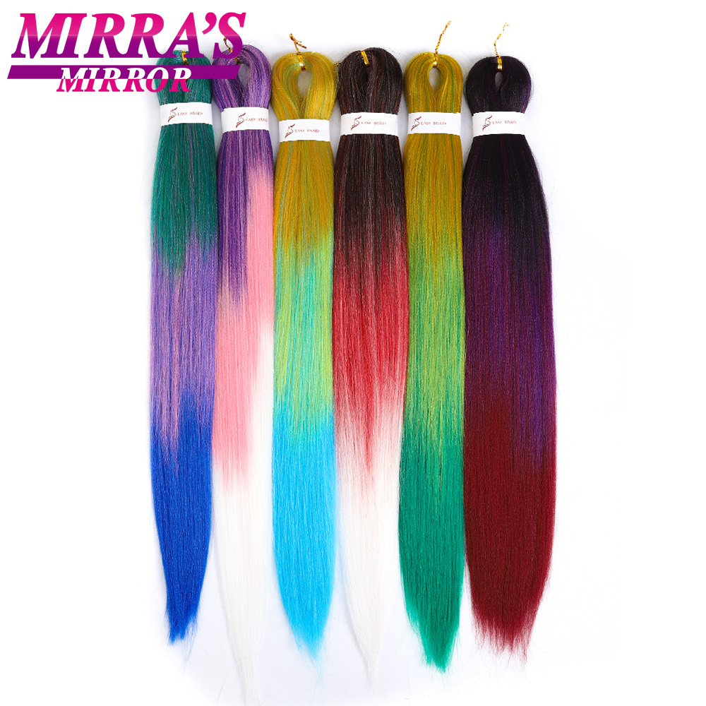 Mirra's Mirror 3 Tone Easy Ombre Braiding Hair Synthetic Pre Stretched Hair Extensions Crochet Hair For Kid