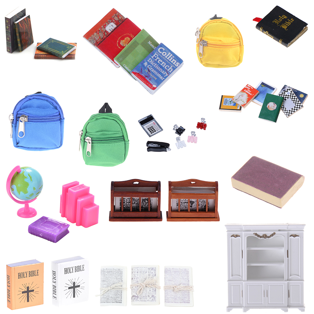 Bookshelf Notebook Books Newspaper Backpack Caculator Clamp Model Doll House Kid Toys Dollhouse Miniature Learning Accessories