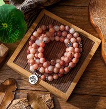 Women`s wrap Bracelet Pink Aventurine Beads with Lotus OM Buddha Charm Yoga Men Bracelet 108 Mala Necklace dropshipping(China)