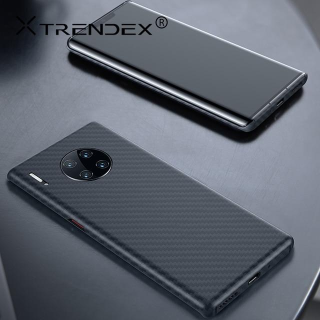 Obudowa z włókna węglowego TRENDEX do Huawei Mate 30 20 P30 Pro 100% prawdziwa oryginalna obudowa z włókna węglowego, odporna na wstrząsy, wyjątkowo cienki futerał