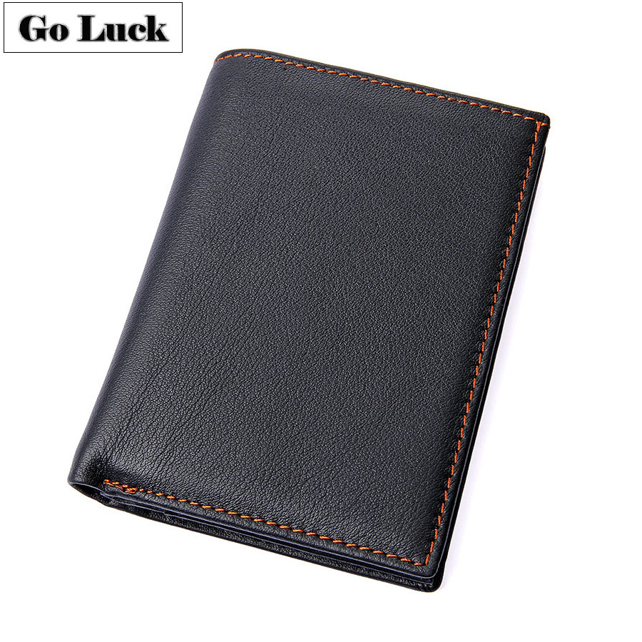 GO-LUCK Casual Genuine Leather Short Pocket Wallet Men's Credit ID Cardholder Card Case Wallets Male Purse Passport Bag