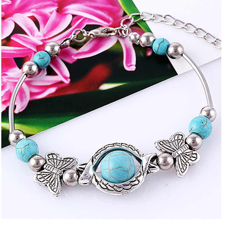 Nueva llegada cuentas de piedra verde pulsera de mariposa chapada en plata accesorios hechos a mano joyería de moda Envío Directo