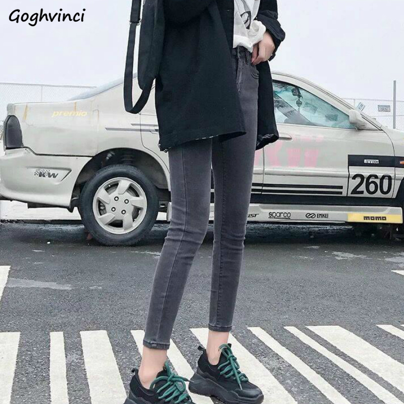 High Waist Skinny Jeans Women Solid Pencil Denim Stretch Trousers Womens Leisure Big Size Chic Korean Style All-match Slim New