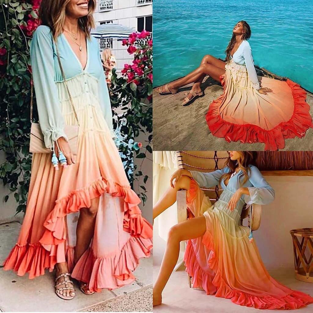 Robe de plage mode femmes à manches longues col en v dégradé lâche simple rangée bouton pli robe saida de praia Vestido de festa de