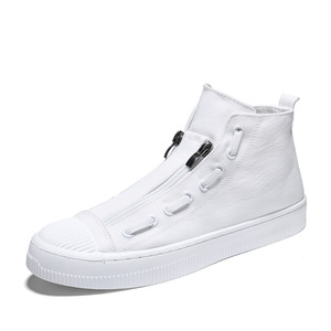Image 2 - 2019 New High Top White Gray Black Men Canvas Shoes Men Casual Designer Fashion Luxury Flat Slip On Chaussure Homme Shoes