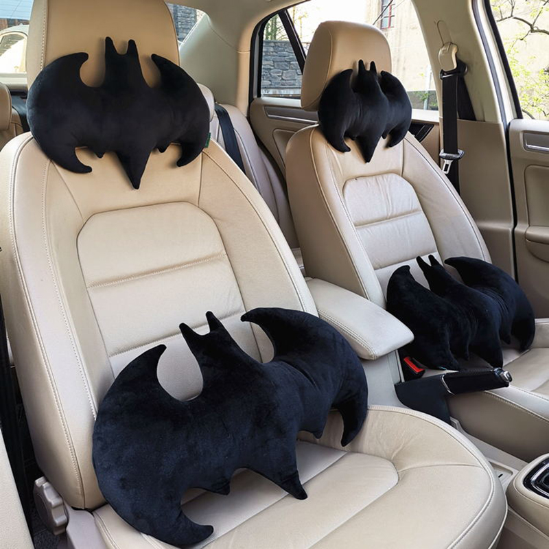 Auto Creative Unique Bat Shaped Plush Neck Pillow Car Decoration Batman Stuffed Plush Travel Pillow Cushion