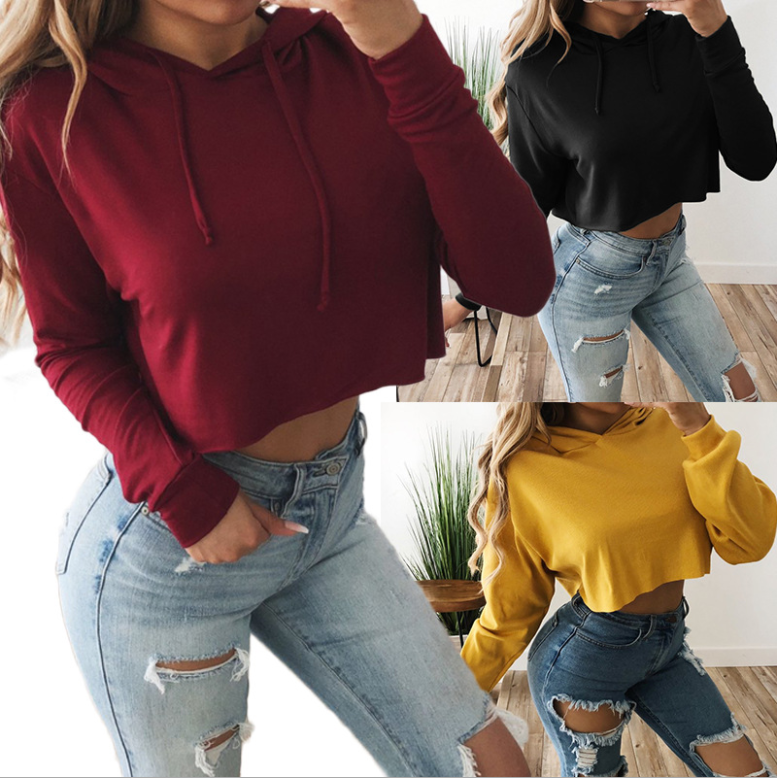 Solid Crop Red Black Hoodies Sweatshirts 2020 Women Casual Kawaii Harajuku Fashion Punk For Girls Clothing European Tops Korean