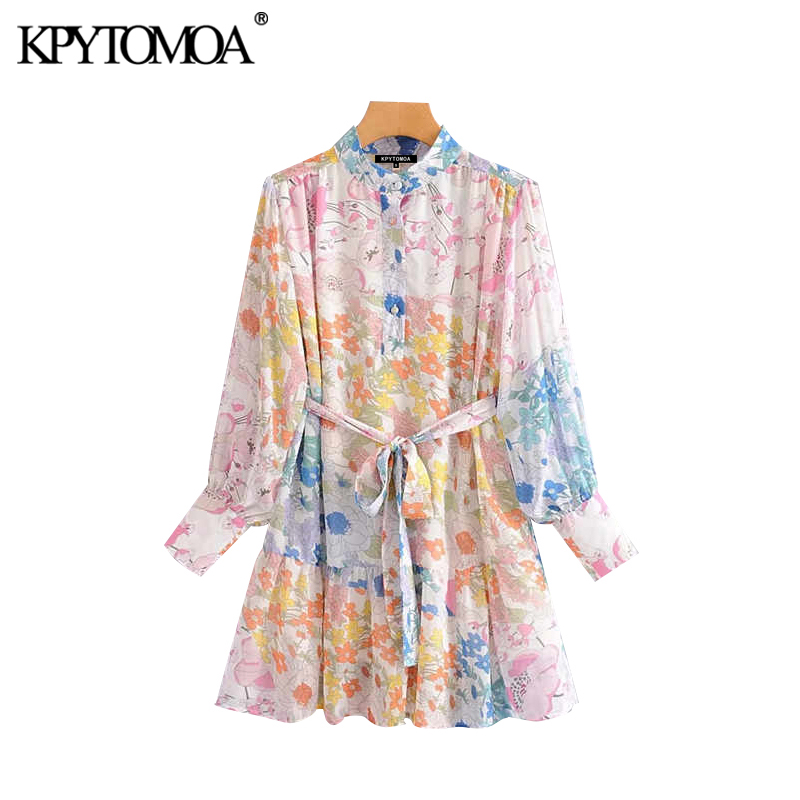 Vintage Stylish Floral Print Bow Tie Sashes Mini Dress Women 2020 Fashion Long Sleeve Beach Female Dresses Vestidos Mujer