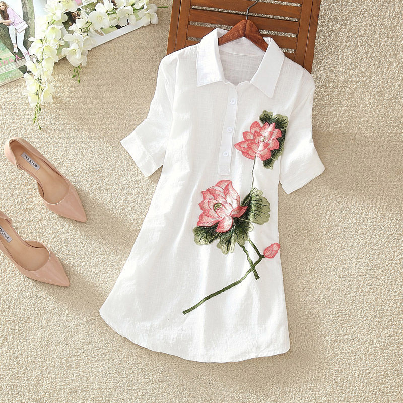 White Long Shirt Women Office Blouse Plus Size Cotton Linen Vintage Embroidery Short Sleeve Ladies Summer Tops Casual 4XL 5XL