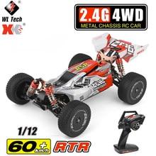 Wltoys 2.4g corrida rc carro competição 60 km/h chassi de metal 4wd estrada deriva elétrico rc carro brinquedos de controle remoto para crianças 144001