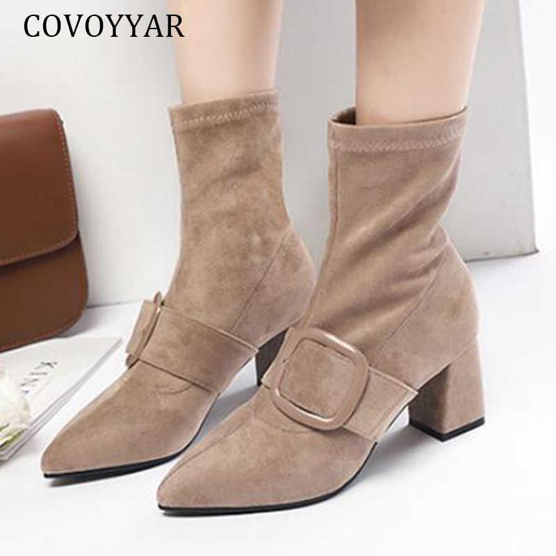 COVOYYAR/Лидер продаж 2019 года женские ботинки Винтажные ботинки до середины икры