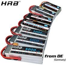 HRB 2S 3S 4S 5S 6S يبو بطارية 1300 1500mah 2200mah 2700mah 5000mah 3300 6000mah XT60 T EC5 EC2 7.4V 11.1V 14.8V 22.2V RC أجزاء