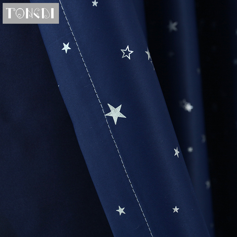 TONGDI Shiny Silver Star Blackout  Curtain High-grade Christmas Decoration For Festival Party Children Room Bedroom Living Room